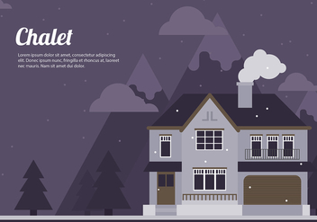 Chalet Night Cartoon Flat Vector - vector gratuit #423029
