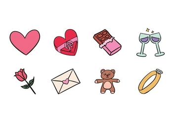 Valentine Doodle Icons - Free vector #423179