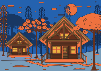 Chalet Night View Vector - бесплатный vector #423259