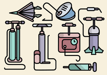 Various Air Pump Tools Vectors - vector gratuit #423299