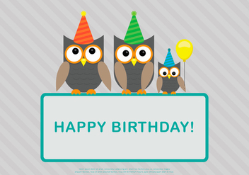 Owl Family Birthday Card Template Vector - Kostenloses vector #423319