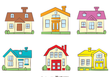 Colorful Chalet Collection Vectors - Free vector #423359