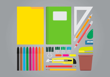 Office Table Supplies Vector - vector gratuit #423439