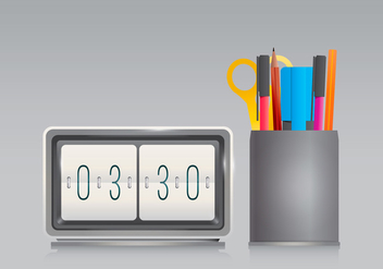 Pen Holder and Office Clock in Realist Style - vector gratuit #423449