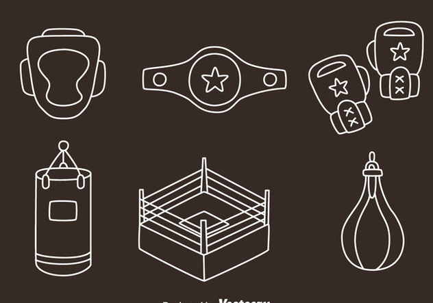 Boxing Element Line Vectors - Kostenloses vector #423509