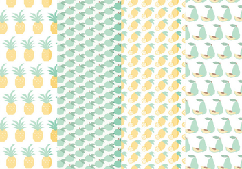 Vector Seamless Patterns of Hand Drawn Fruits - бесплатный vector #423589