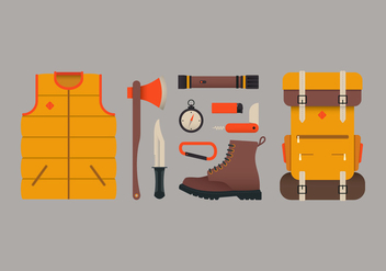 Camping Equipment and Survival Tools - Free vector #423629