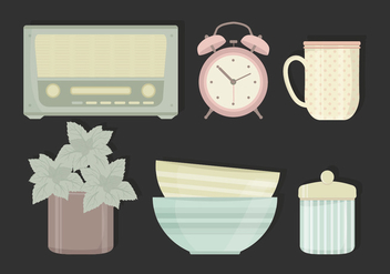 Vector Illustration of Vintage Objects - vector gratuit #423639