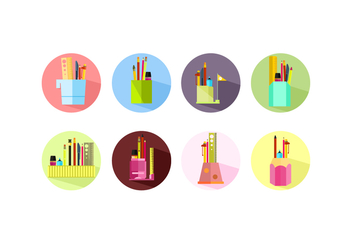 Flat Icon Pen Holder Free Vector - vector #423669 gratis