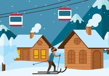 Chalet in Winter Season Vector - Free vector #423679