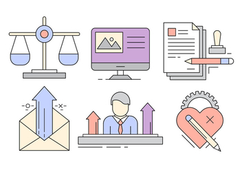 Free Business Icons in Minimal Style - vector gratuit #423959