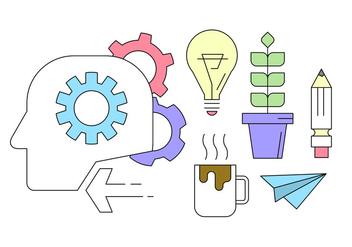Brainstorming Icons in Thin Line Design - vector gratuit #424009