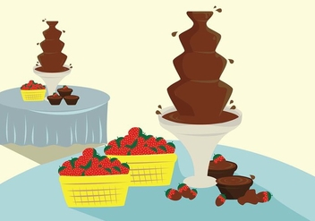 Dessert Table Chocolate Fountain Vector - vector gratuit #424089