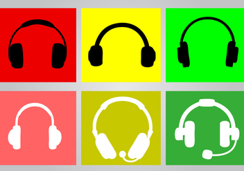 Bright Headphone Icon Set - Free vector #424119