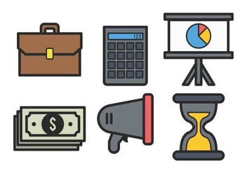 Business bold outline icon set - vector gratuit #424179
