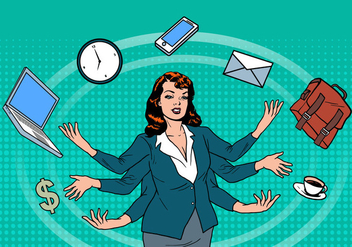 Business Superwoman Time Management Vector - Free vector #424209