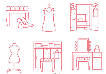 Dressing Room Line Vectors - Free vector #424219