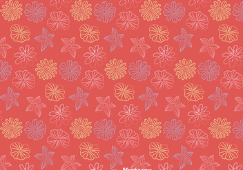 Line Flowers Pattern Vector - Free vector #424229