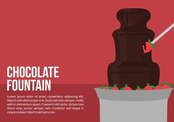 Chocolate Fountain with Strawberries Vector - vector gratuit #424249