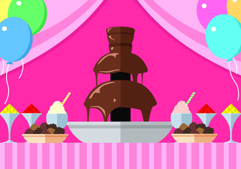 Chocolate Fountain Party Free Vector - vector gratuit #424279