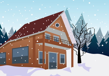 Traditional Alpine Chalet In The Mountains - Free vector #424309