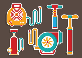 Colorfull Air Pump Tools Vector Flat - бесплатный vector #424349