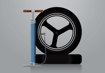 Air Pump and Motorbike Tire Vector - бесплатный vector #424589
