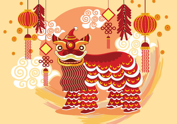 Traditional Chinese Lion Dance Festival Background - vector #424639 gratis