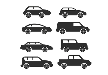 Simple Car Icon Silhouette Vectors - бесплатный vector #424649