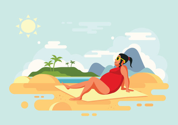 Sunbathing Woman on Beach Vector Illustration - Free vector #424669