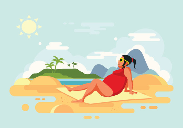 Sunbathing Woman on Beach Vector Illustration - vector gratuit #424669