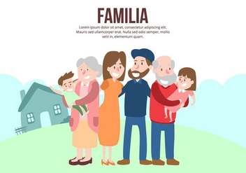 Happy Multigenerational Family Background - vector gratuit #424679