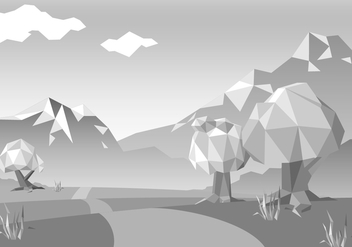 Free Monochromatic Low Poly Landscape Vector - Kostenloses vector #424749
