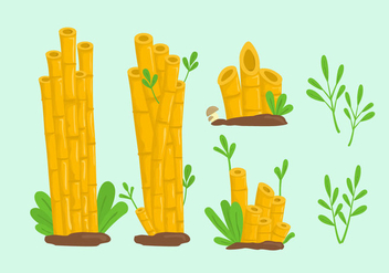Yellow bamboo lanscape cartoon illustration vector - vector gratuit #424759