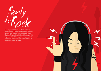 Head Phone Listening Rock Free Vector - Kostenloses vector #424769