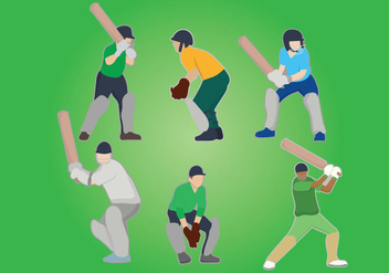 Cricket Player Vector - vector gratuit #424879