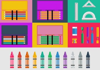 Free Pencil and Color Cases Vector - бесплатный vector #424939