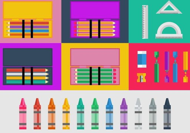Free Pencil and Color Cases Vector - Free vector #424939