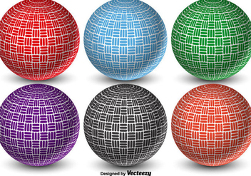Colorful 3D Abstract Vector Dodgeball Balls - vector gratuit #425019