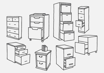 Hand Drawn File Cabinet Vectors - бесплатный vector #425169