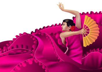 Bold Pink Spanish Dancer with Fan Vector - бесплатный vector #425279