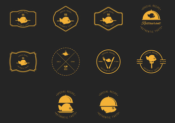 Fish Fry Badge and Label Vector Set - бесплатный vector #425309