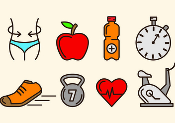 Icons Of Slimming and Health - vector gratuit #425489