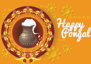 Beautiful and Colorful Pongal Card Design Vector - Free vector #425679