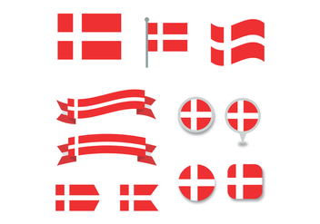 Set Of Danish Flags - Kostenloses vector #425729
