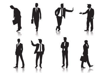 Standing Men People Silhouettes Vector - vector gratuit #425759