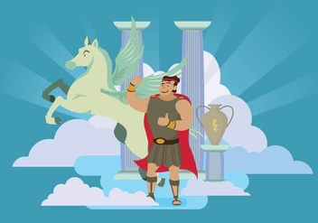 Free Hercules and Pegasus in Heaven Illustration - Free vector #425899
