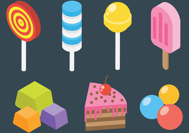 Free Candy and Dessert Icons Vector - Free vector #426159