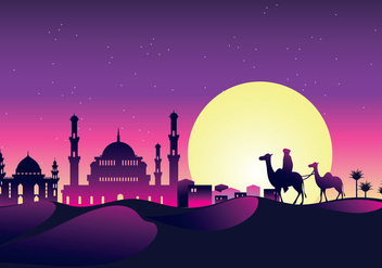 Vector Illustration Caravan with Camels at Night with Mosque and Arabian Sky at Night - Free vector #426199