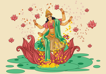 Vector Illustration of Goddess Lakshmi - Kostenloses vector #426229